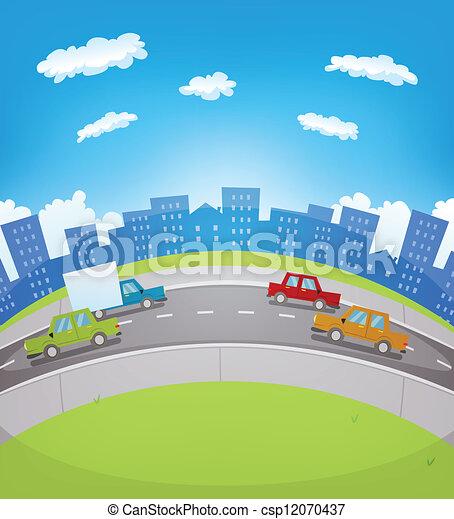 Tráfico urbano de dibujos animados - csp12070437