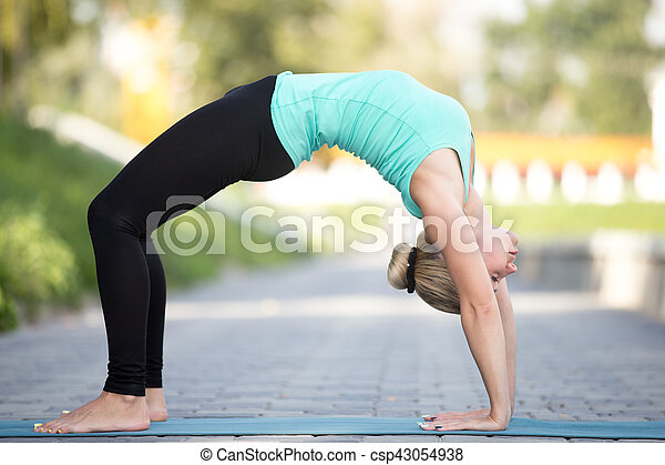 sporty attractive young woman practicing yoga staying in