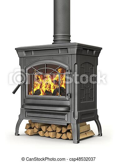 urente, fuoco, stufa, legno, fiamma, fondo, bianco - csp48532037