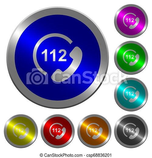 urgence, couleur, boutons, appeler, 112, coin-like, lumineux, rond - csp68836201