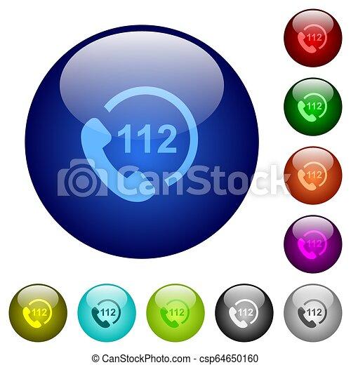 urgence, couleur, boutons, verre, appeler, 112 - csp64650160