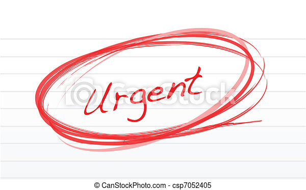 Urgent circled in red ink on white  - csp7052405