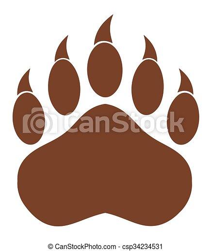 urso marrom pata marrom claws pata isolado urso ilustração