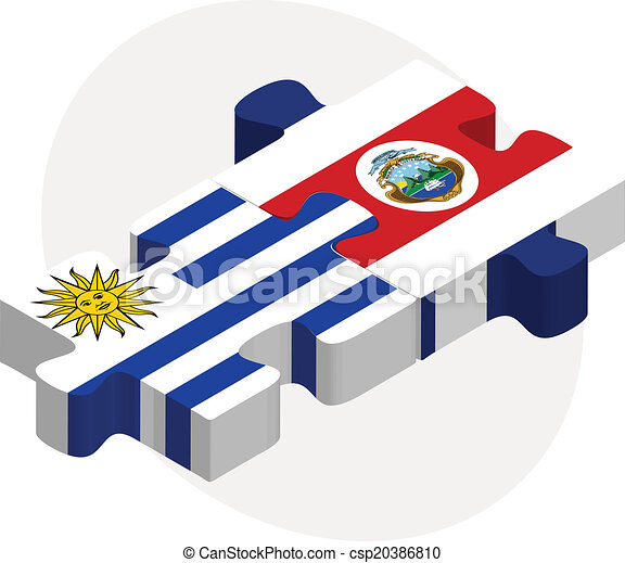 Uruguay and Costa Rica Flags in puzzle - csp20386810
