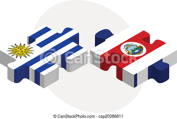 Uruguay and Costa Rica Flags in puzzle - csp20386811