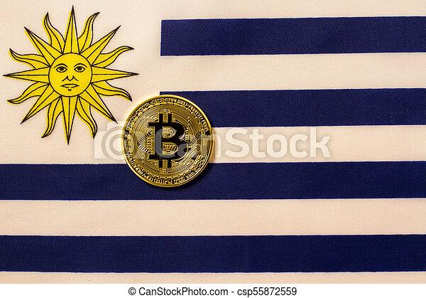 Uruguay flag and bitcoin crypto. - csp55872559