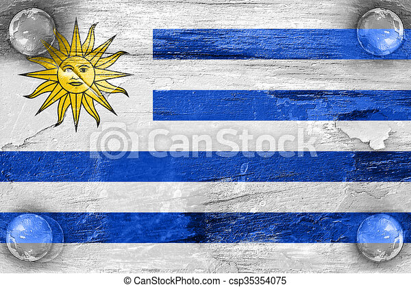 Uruguay Flag With Some Soft Highlights And Folds Stock - Uruguay flag