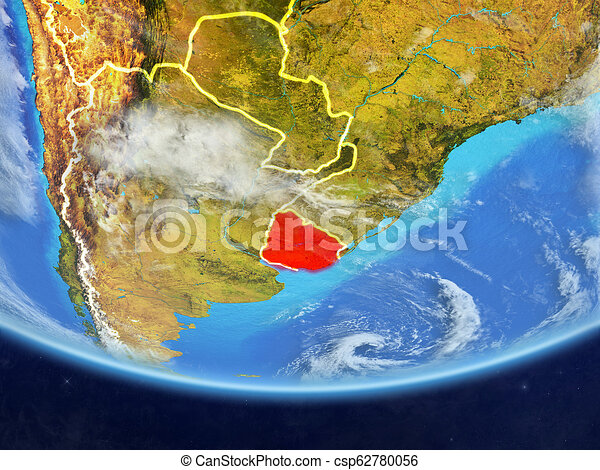 Uruguay from space on Earth - csp62780056