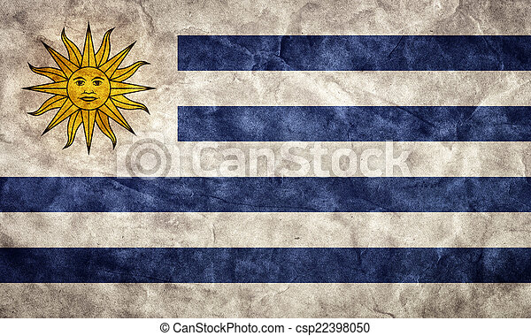 Uruguay grunge flag. Item from my vintage, retro flags collection - csp22398050