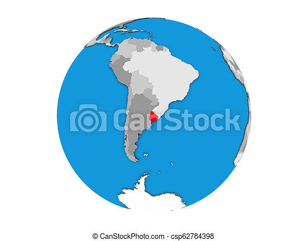 Uruguay on 3D globe isolated - csp62784398