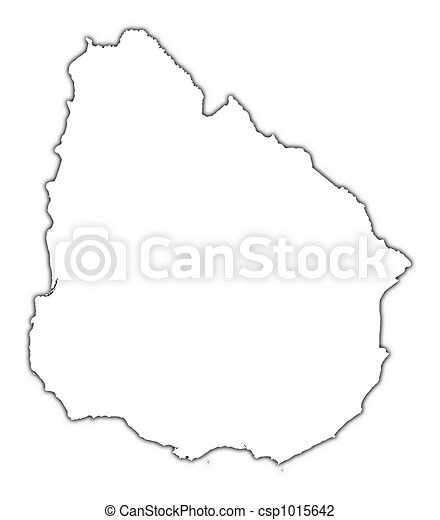 Uruguay Outline Map With Shadow Detailed Mercator Clip Art - Uruguay blank map