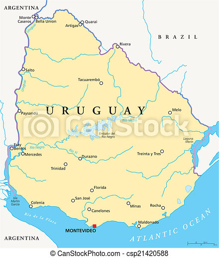 Uruguay political map. Political map of uruguay with capital ...