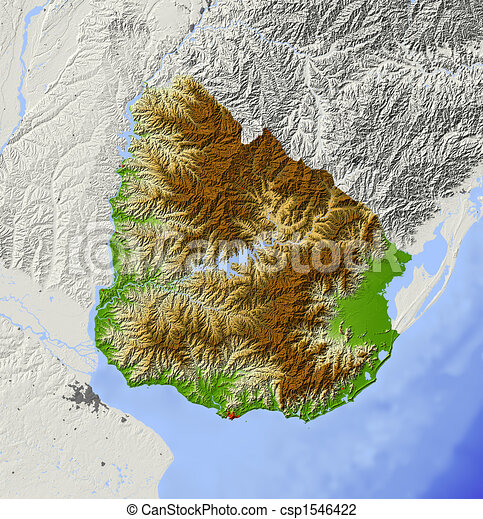 Uruguay Shaded Relief Map Uruguay Shaded Relief Map With - Uruguay physical map