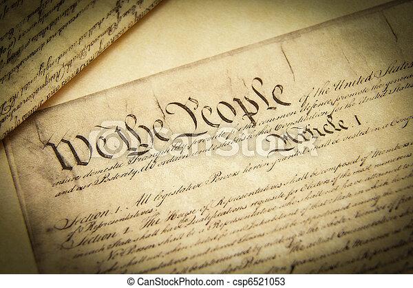 u.。s.。, レプリカ, クローズアップ, 憲法, 文書 - csp6521053