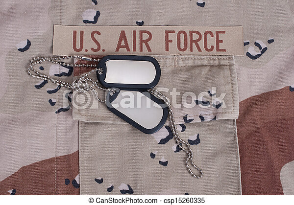 us air force uniform with dog tags - csp15260335
