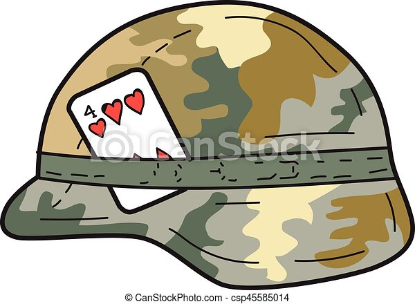 us army helmet 4 of hearts playing card drawing drawing sketch rh canstockphoto com Cartoon Army Hat Cartoon Army Person