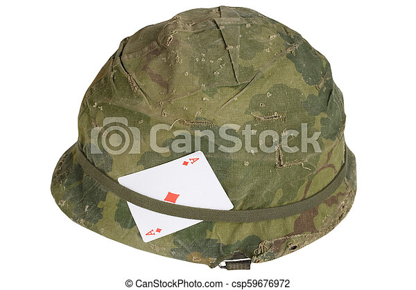 Us Army Helmet Vietnam War Period With Amulet Playing Card Ace Of Diamonds Us Army Helmet Vietnam War Period With Amulet