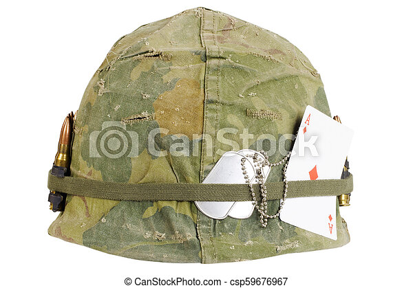 Us Army Helmet Vietnam War Period With Camouflage Cover And Ammo Belt Dog Tag And Amulet Playing Card Ace Of Diamonds