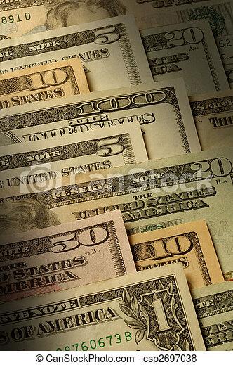 U.S. banknotes of various dollar denominations - csp2697038