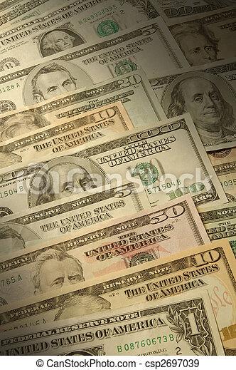 U.S. banknotes of various dollar denominations - csp2697039