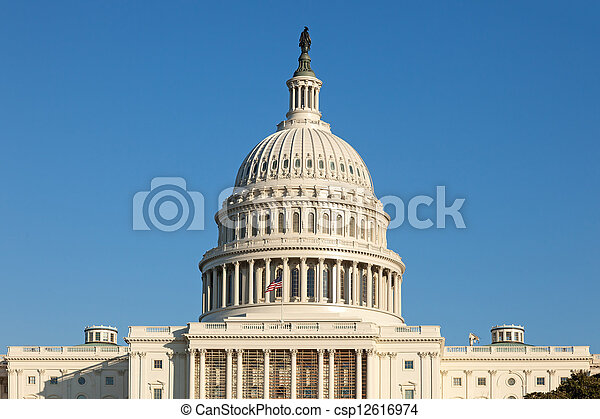 U.S. Capitol Dome against Blue Sky - csp12616974