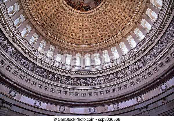 US Capitol Dome Rotunda Inside Washington DC - csp3038566