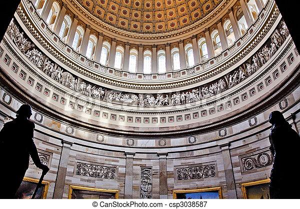 US Capitol Dome Rotunda Statues DC - csp3038587