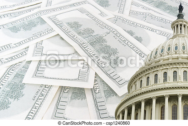 us capitol on 100 us dollars banknotes background - csp1240860