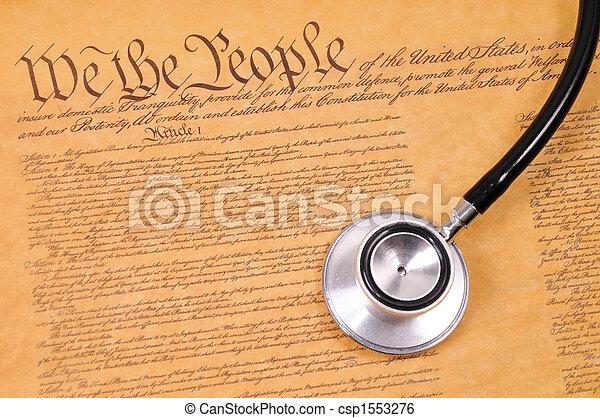US Constitution and stethoscope - csp1553276
