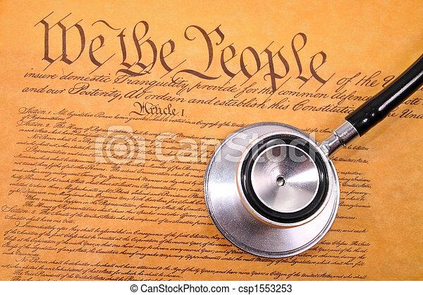 US Constitution and stethoscope - csp1553253