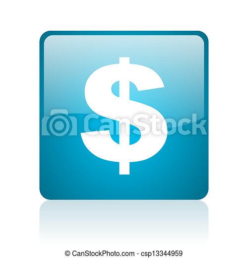 us dollar blue square web glossy icon - csp13344959