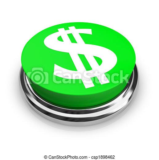 US Dollar Symbol - Button - csp1898462
