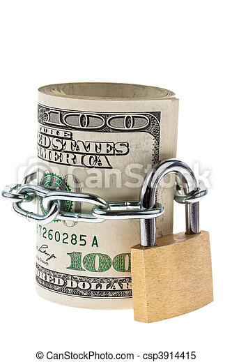 U.S. dollars bills are locked with a lock - csp3914415