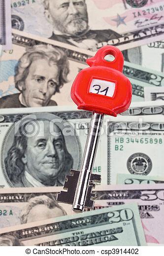 U S  dollars notes and keys safe