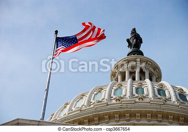 US Flag and Capitol building, Washington DC - csp3667654