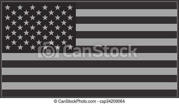 US flag grey - csp34209064