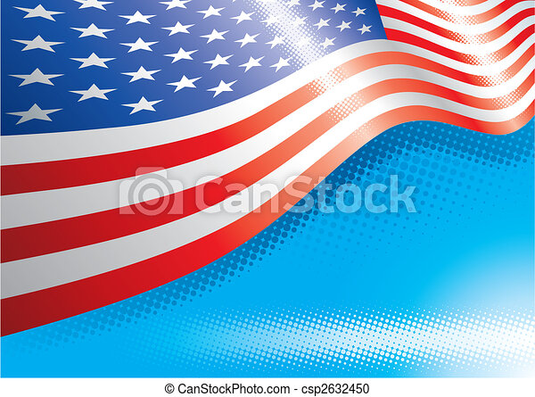 Us Flag  Halftone Background - csp2632450