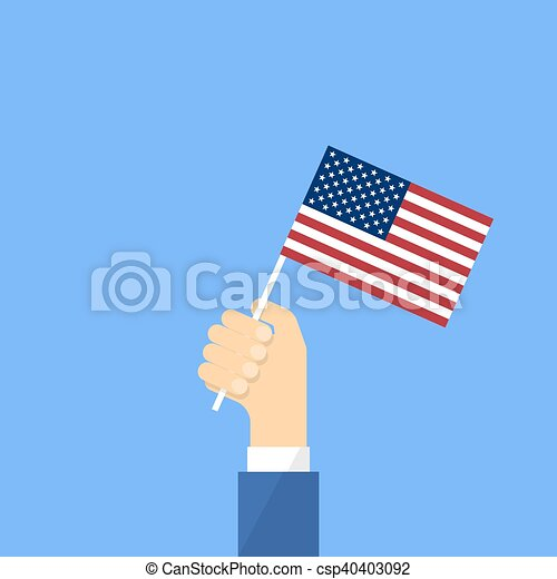 US flag in hand - csp40403092