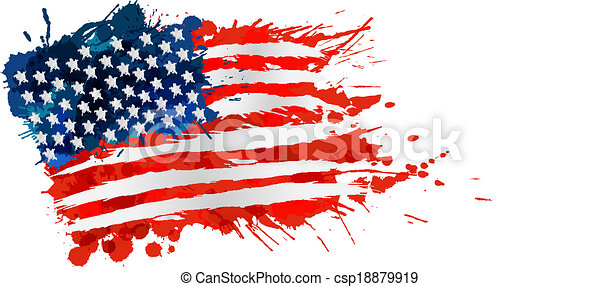 US flag made of colorful splashes - csp18879919