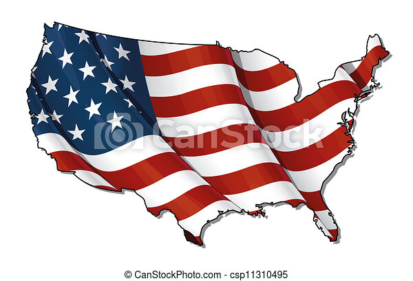 Us Flagmap Flat Clipping Path Us Map Outline With The Stock - Us flat map