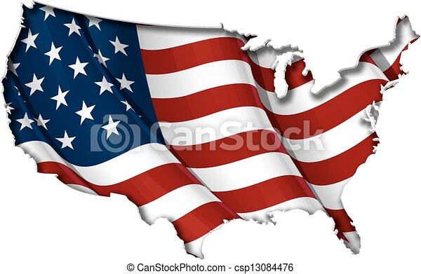 US Flag-Map Inner Shadow - csp13084476