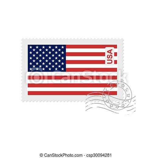 us flag old postage stamp - csp30094281