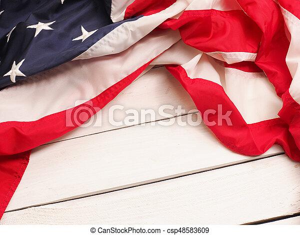 US flag on wood - csp48583609
