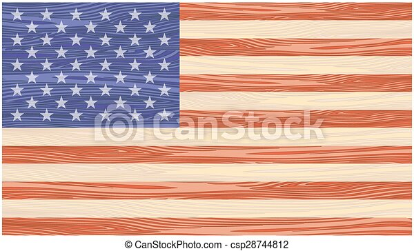 US Flag painted on wooden boards - csp28744812