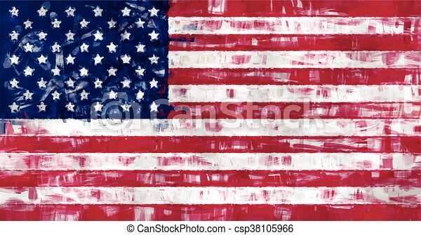 us flag painting vector - csp38105966