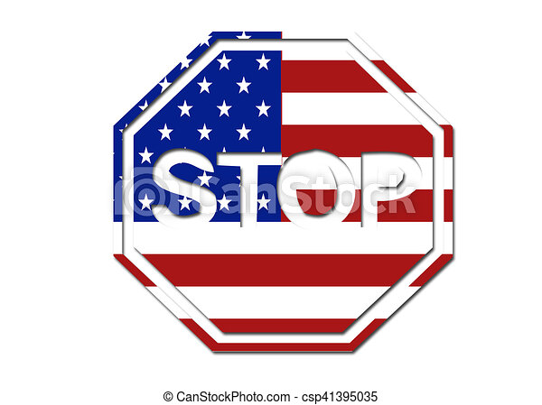 us flag stop sign symbol logo on a solid background drawings rh canstockphoto com stop sign login stop sign coloring sheet