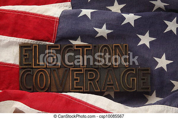 U.S. flag with election coverage - csp10085567