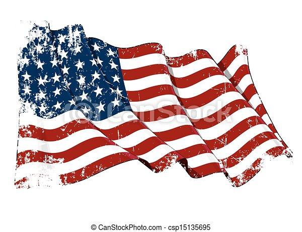 US Flag WWI-WWII (48 stars) Grunge - csp15135695