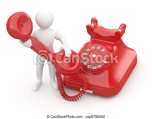 Contacta con nosotros. Hombres con teléfono. 3D - csp6792402