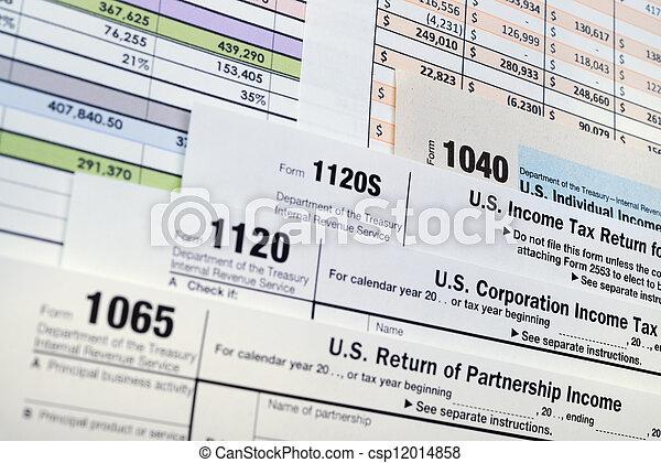 U.S. Income Tax Return forms 1040,1065,1120 - csp12014858